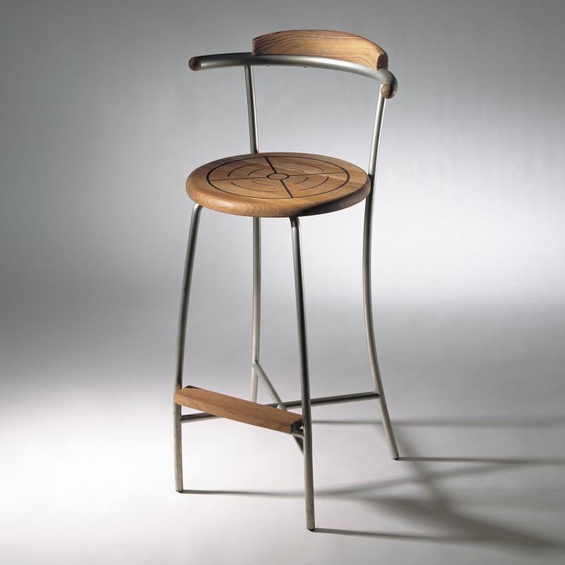 chaise de bar teck inox bross kircodan danemark. Black Bedroom Furniture Sets. Home Design Ideas