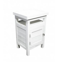 Table de chevet / 1-door White side table Douglas