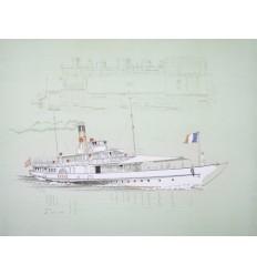 Lithographie Le Rhône bateau vapeur CGN sur le lac Léman