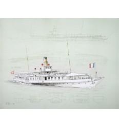 Lithographie La Suisse bateau vapeur CGN Lac Léman