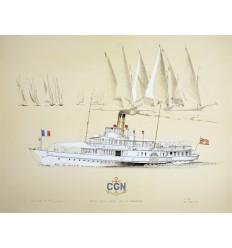 Lithographie Le Savoie bateau vapeur de la CGN