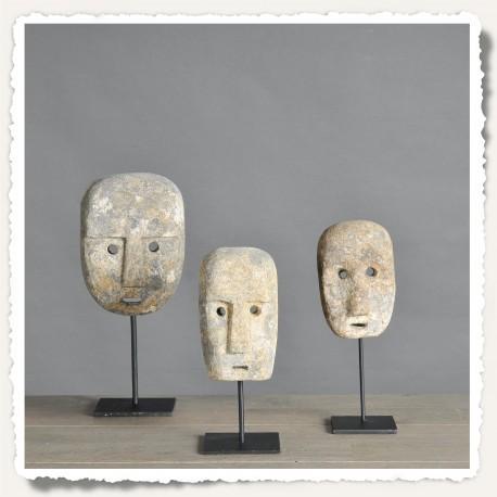 Masque en pierre du Timor set de 3