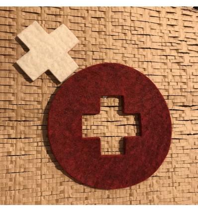 Sous plat croix Suisse en laine feutrée