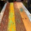 Table en bois de récupération de pirogues indonésiennes